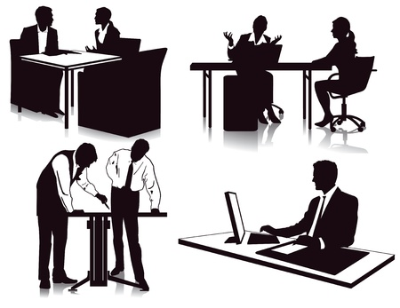 sales meeting: working in the office Illustration