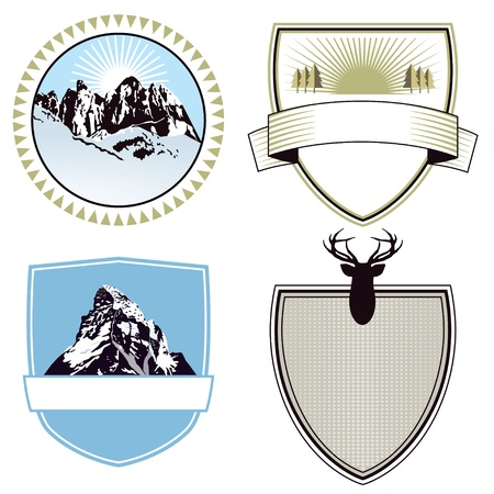 Mountain adventure and expedition badges Stock Vector - 17459061