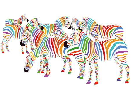 Colorful Zebras Vector
