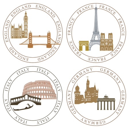 Europe landmarks and main cities Vector