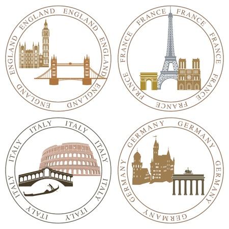 coliseum: Europe landmarks and main cities Illustration