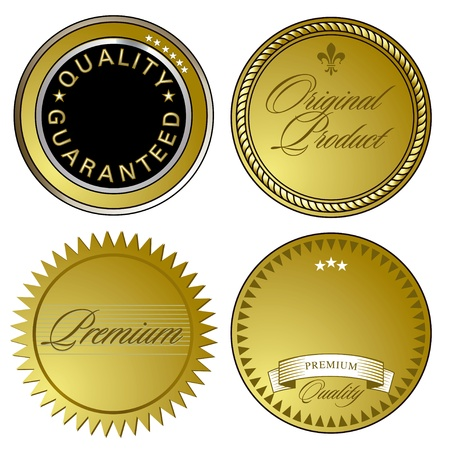 gold seal: Gold Seal of Approval and emblems Illustration
