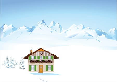 chalets: Winter in the Alps Illustration
