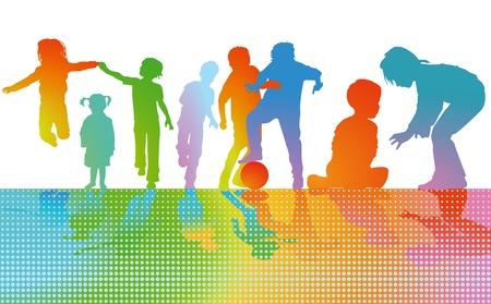 junior soccer: Children play Colourful