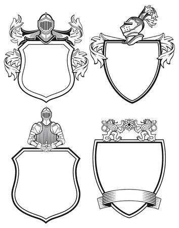 cavaliere medievale: Cavaliere scudi e stemmi Vettoriali