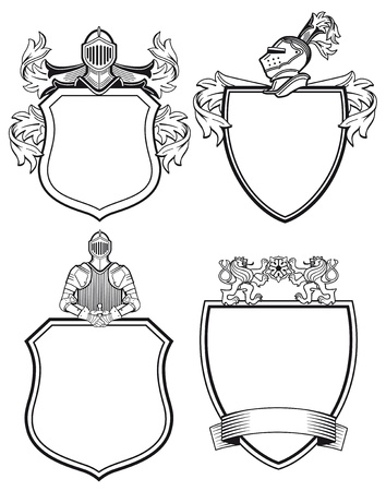 caballero medieval: Knight escudos y blasones
