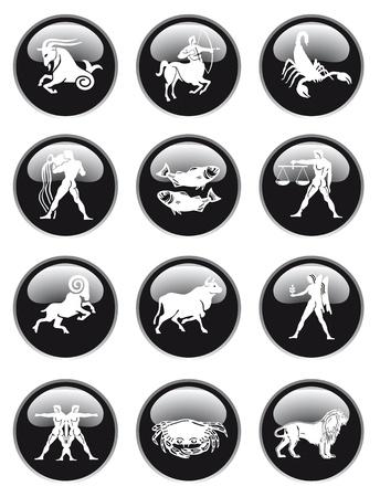 virgo: bot�n del signo del zodiaco Vectores