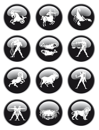 zodiac sign button Vector
