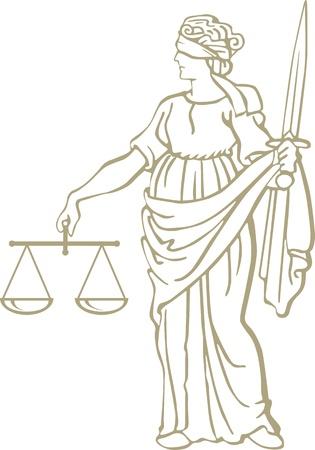 rechtvaardigheid standbeeld Vector Illustratie