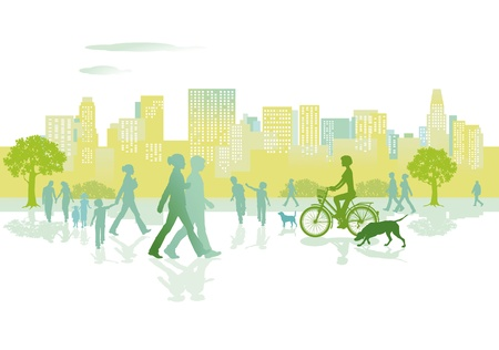 city live: People in the city park Illustration