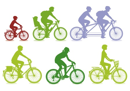 family outing: cycling Illustration