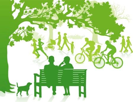 ni�os caminando: Verde en el Parque de la Ciudad