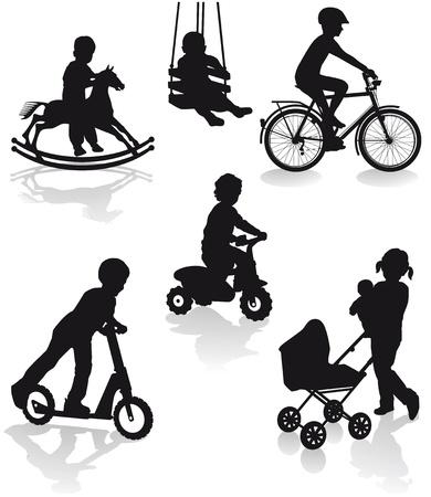 driewieler: Kinderen met speeltoestellen