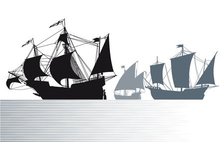 The ships of Christopher Columbus  Vector
