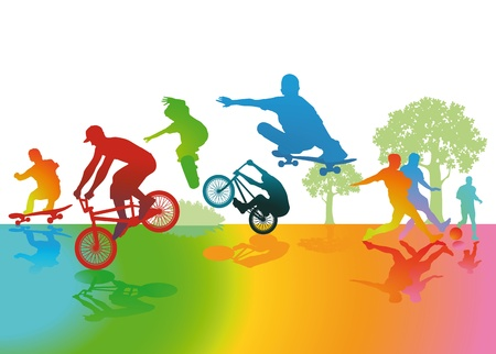 Fun and exercise at the park Stock Vector - 18466870