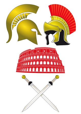military helmet: Legionnaires and Gladiator Illustration
