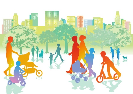 outing: Families with children are walking in the park