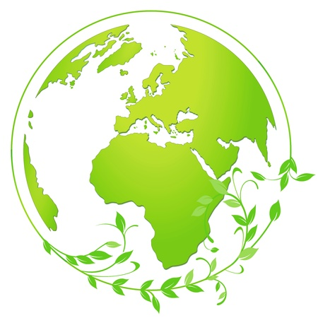 green globe icon Stock Vector - 18594336