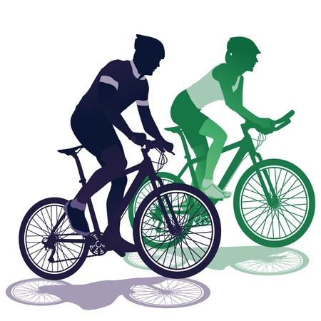 radfahren: ein Paar auf dem Fahrrad Illustration