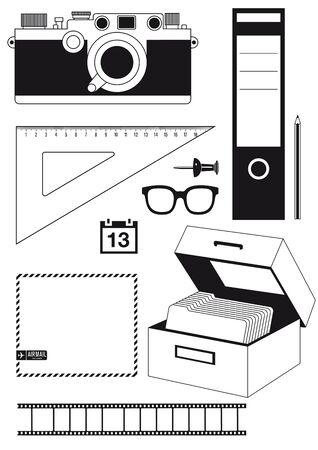 Camera and utensils Stock Vector - 18707543