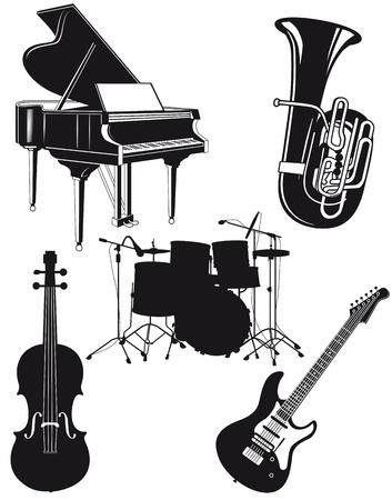 музыка: Оркестровые инструменты Иллюстрация
