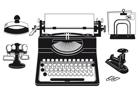 事務用品と古いタイプライター  イラスト・ベクター素材