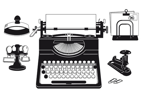 staplers: old typewriter with office supplies Illustration