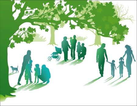 életmód: család élvezni az életet együtt Illusztráció