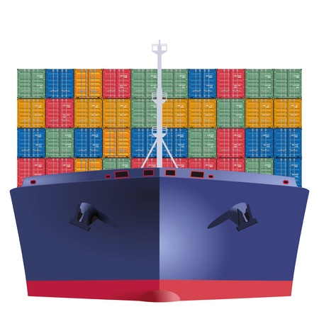 Container ship from the front Vector
