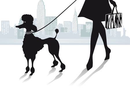 Girl with Poodle in the City Vector