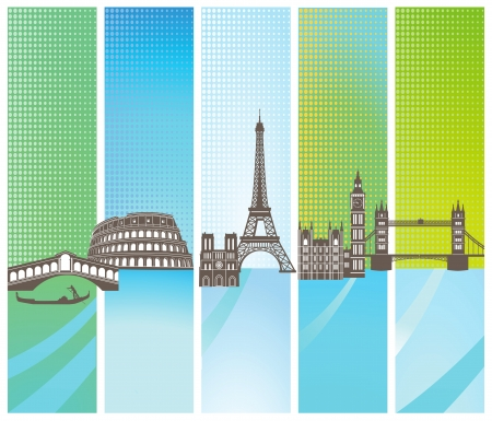 Attractions in Europe Vector