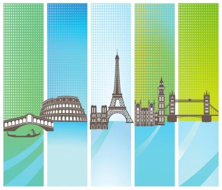 Attractions in Europe Vector