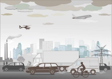 overpopulation: Traffic jam and smog Illustration