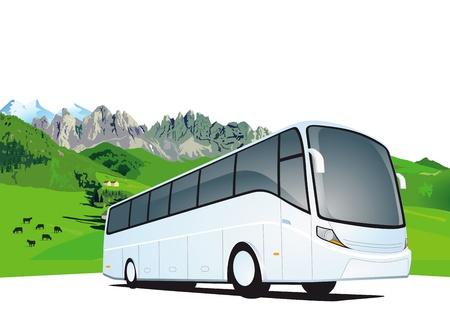 山のバス旅行  イラスト・ベクター素材