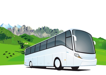 tourist bus: Bus travel in the mountains Illustration