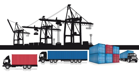 Contenedores de carga en el puerto Ilustración de vector