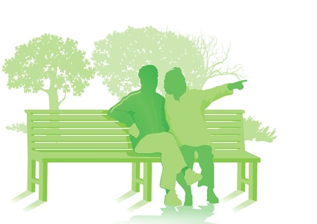 Banco del parque con dos personas mayores