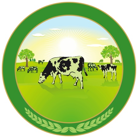 cows grazing: Dairy farming Label