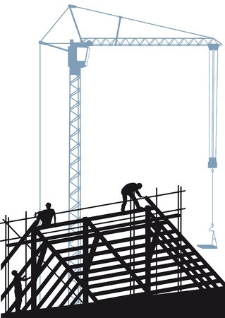 roofer: Construction site with crane