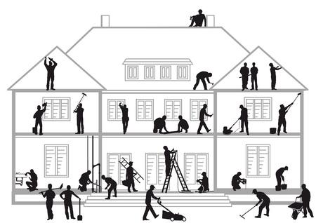 Trabajadores de la construcción en el trabajo