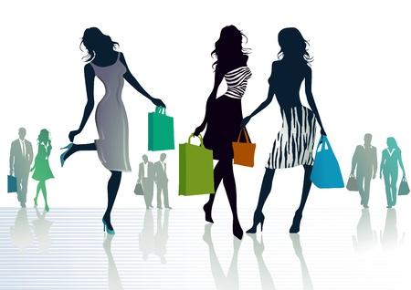 買い物の 3 人の女の子  イラスト・ベクター素材