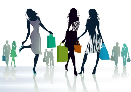 footpath: three girls out shopping Illustration