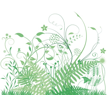 green grasses and plants Vector