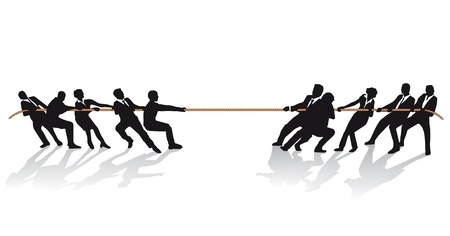 peleaba: Gente de negocios en el tir�n de la guerra de la competencia Vectores