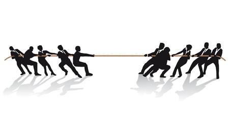 Mensen uit het bedrijfsleven bij het touwtrekken concurrentie