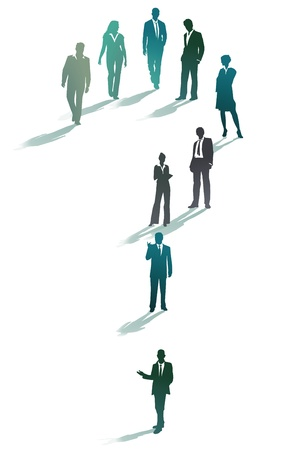 insecure: Group of business people forming a question mark  Illustration