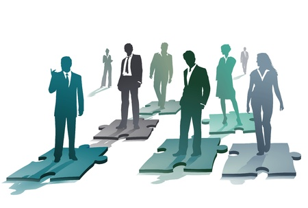 Group of business people on a puzzle Vector