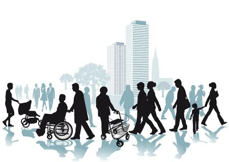 ancianos caminando: Caminantes en la Ciudad