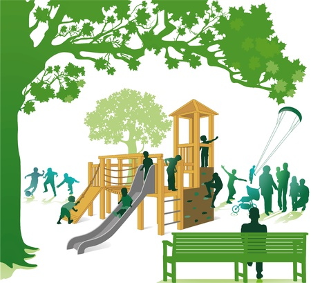 Climbing frame in the park Vector