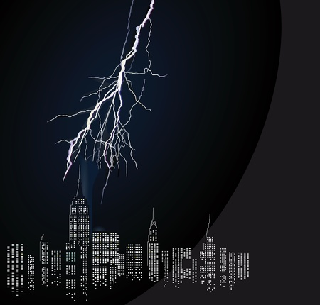remote view: Thunderstorm in the city Illustration
